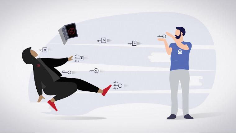 ProtonMail man throwing keys at a hacker