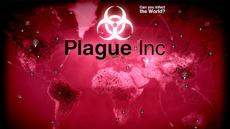 Plague Inc splash screen showing the map of the world in red