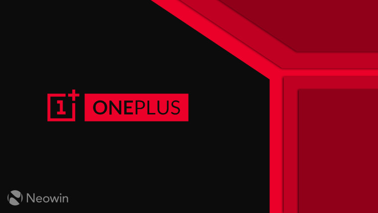 A OnePlus logo on a dark and red background