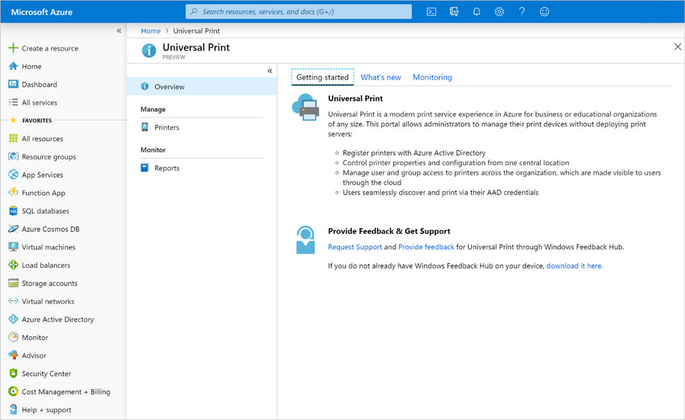 Universal Print dashboard on Azure