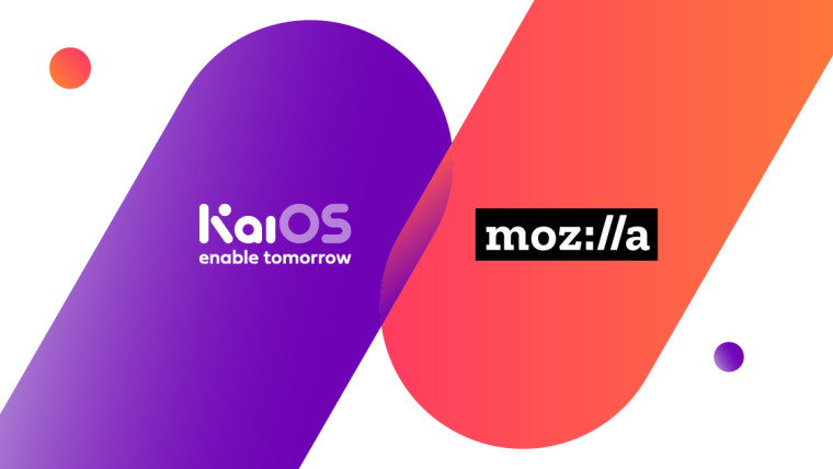 Graphic with KaiOS Technologies' and Mozilla's logos.