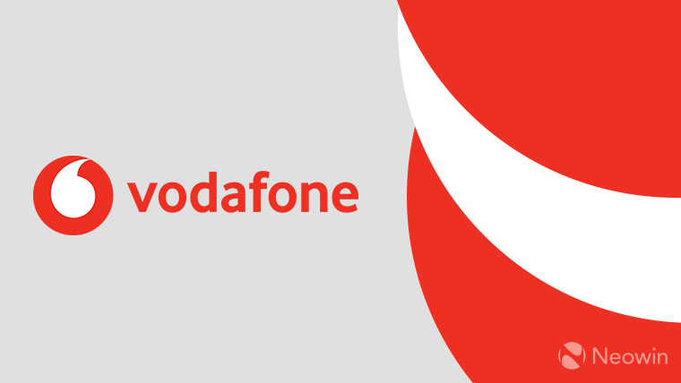 The Vodafone logo on a grey, red, and white background