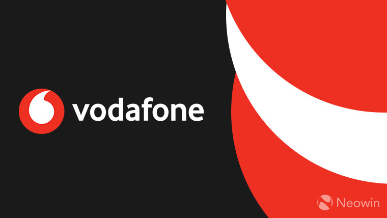 Vodafone logo on a red, white, and black background