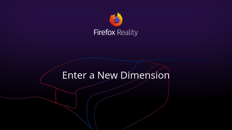 Firefox Reality wallpaper with the outline of a VR headset