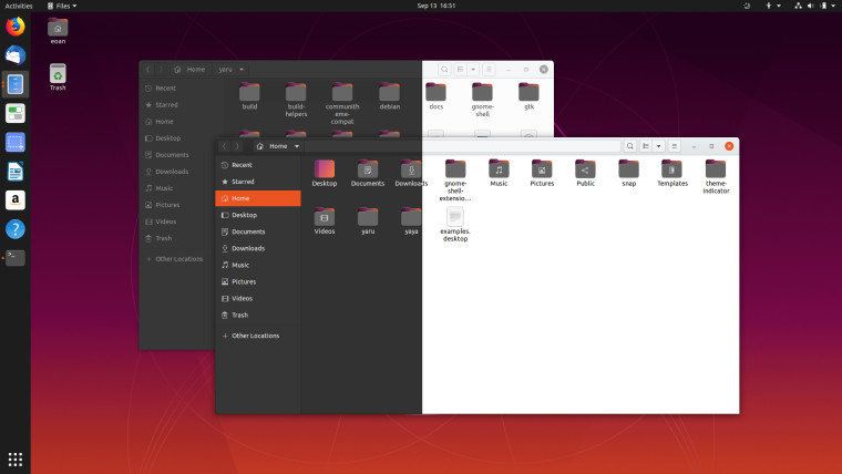 The Ubuntu 20.04 desktop showing the light and dark themes