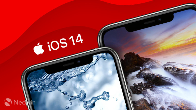 iPhone 11 Pro and iPhone 11 Pro Max with the text iOS 14 and red background