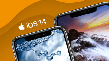 iOS 14 image with two iPhones and orange background
