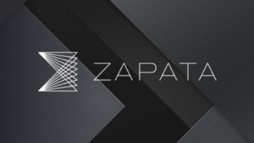 Logo of zapata computing on a tiled grey background