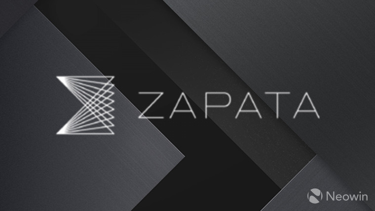 Logo of zapata computing on a tiled, grey background