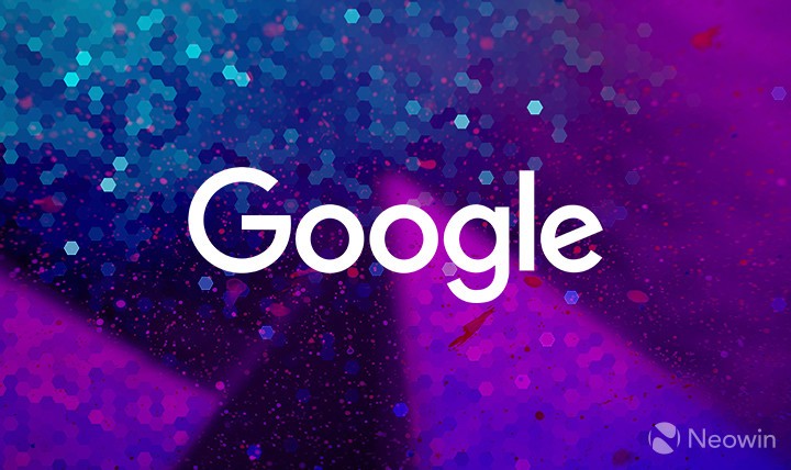 White Google logo on a purple and blue background