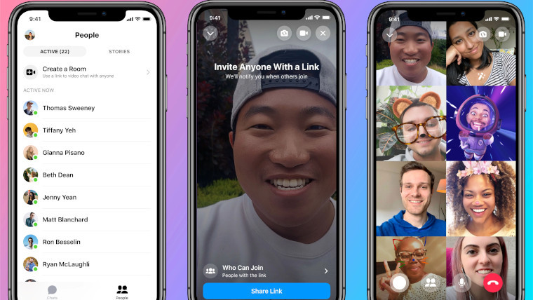Facebook Messenger Rooms feature in action