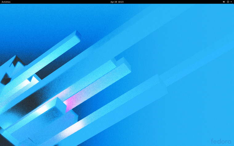 The Fedora 32 desktop with a new wallpaper