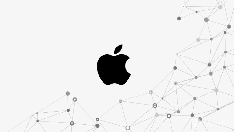 Apple logo on a white background with network dots