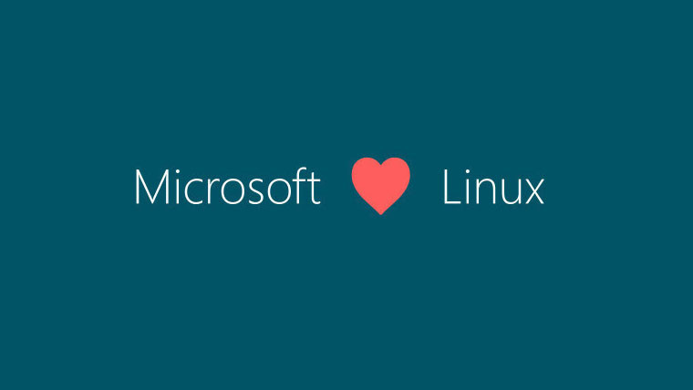 Microsoft and Linux written on the left and right respectively with a heart icon in the middle
