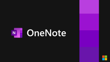 OneNote logo with violet colored bars next to it against a black background