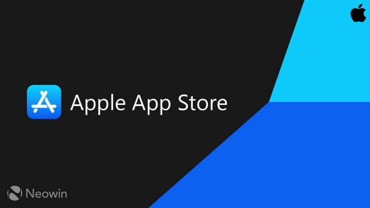 The icon and accompanying text of Apple and its App Store on a blue and back background