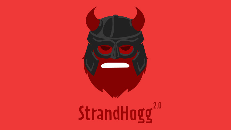 StrandHogg 2.0 logo on a red background