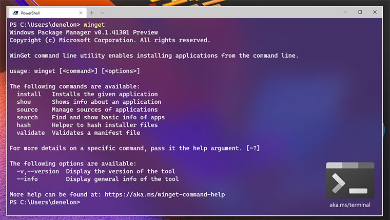 A Windows Terminal window showing the list of commands available for winget