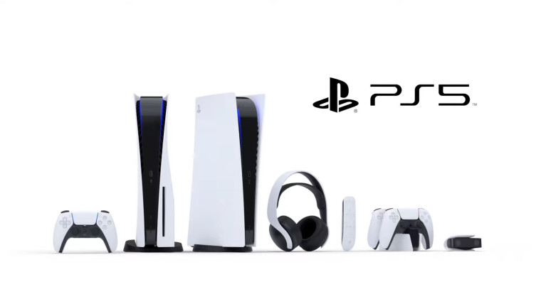 A image containing PlayStation 5 hardware including consoles controllers and headsets