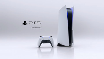 A PlayStation 5 console and a DualSense controller next to the PS5 logo