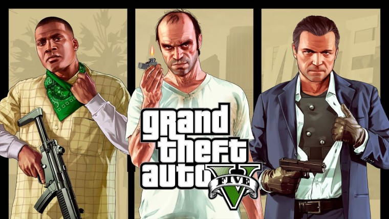 Grand Theft Auto logo in front of main protagonists