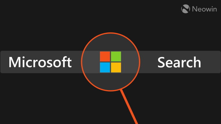 Microsoft Search written with the Microsoft logo under a magnifying glass