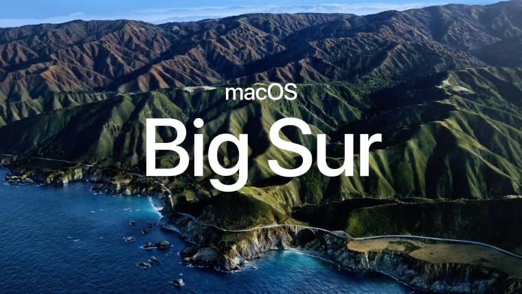 macOS Big Sur text on Apple wallpaper