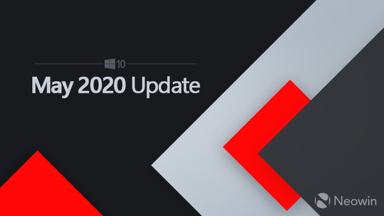 Windows logo with the text, May 2020 Update