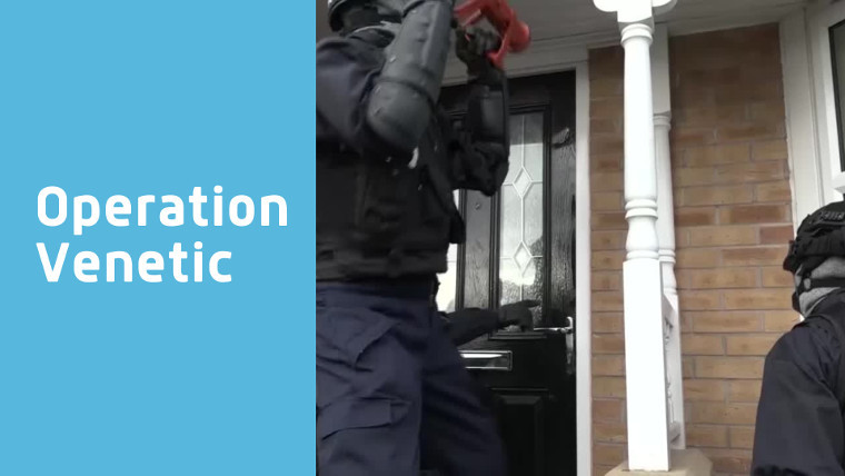 Text reading Operation Venetic by a picture of police smashing a door down