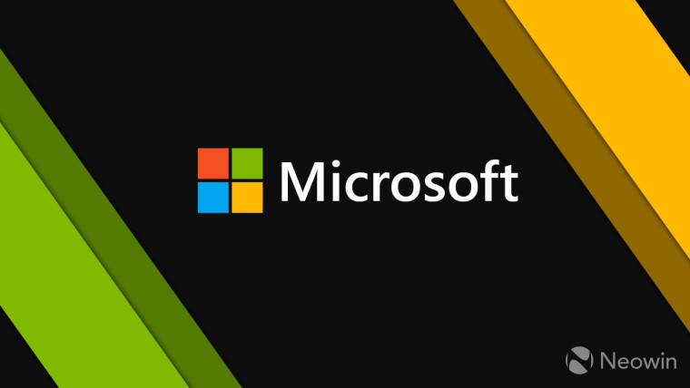 The Microsoft logo on a black, yellow and green background