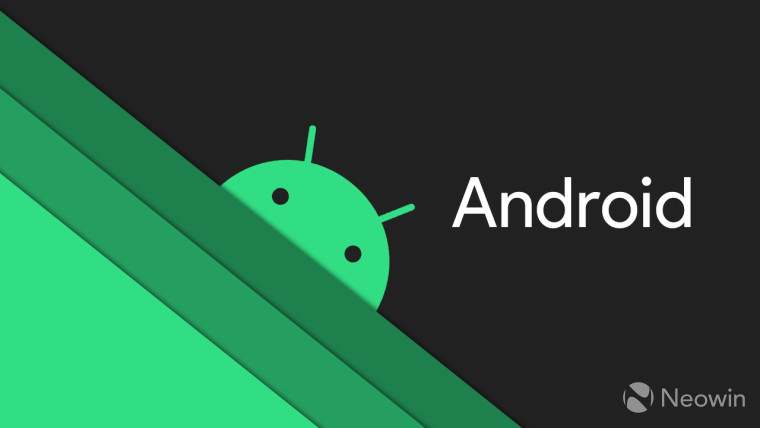 Android logo and name on a dark grey background