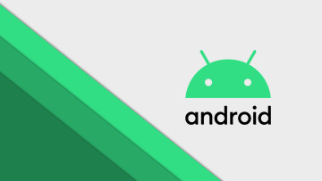 The Android logo against a grey background and green lines