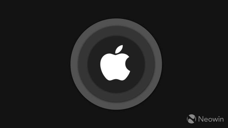 Apple logo surrounded by grey circles on a black background