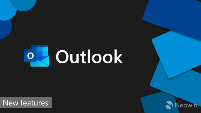Outlook logo and text on a black background with text reading New features in the corner