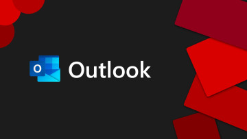Outlook logo on a black and red background