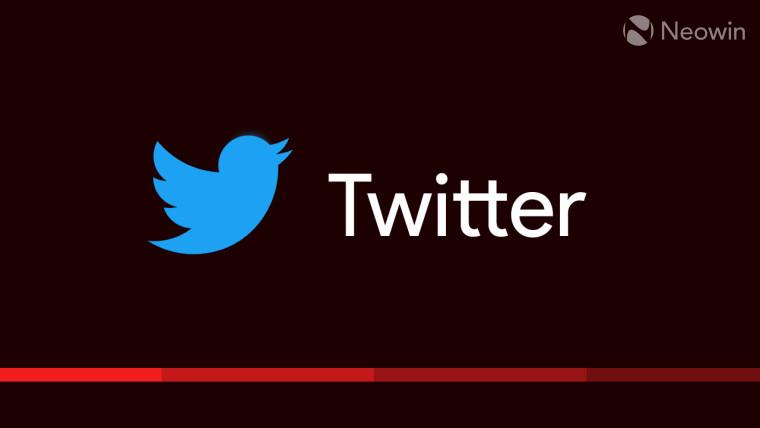 A Twitter logo on a reddish-black background