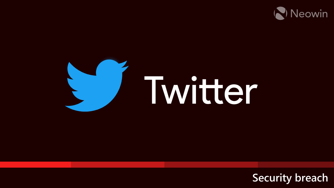 Twitter logo on a dark red background with the words