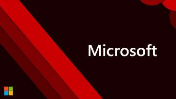 Microsoft logo and text on a dark red background