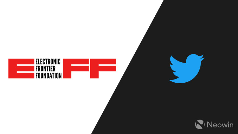 The EFF and Twitter logos on a black and white background