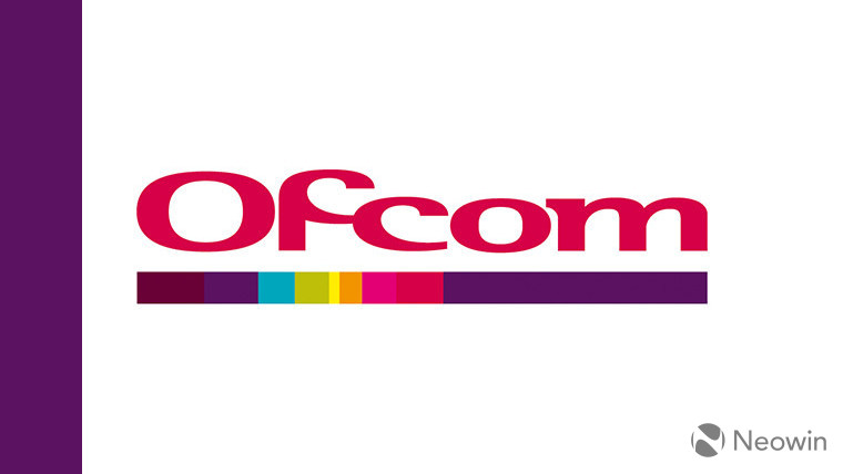 The Ofcom logo on a white and purple background