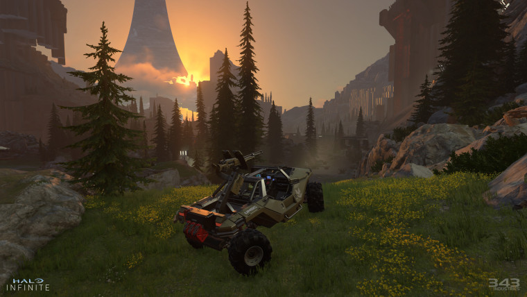 Halo Infinite screenshot showing a Warthog parked atop a hill
