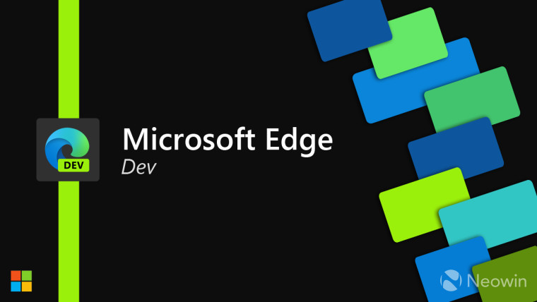 Microsoft Edge Dev logo and text next to colorful squares on a black background