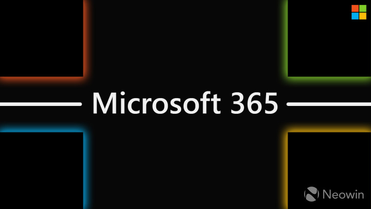 Microsoft 365 text on black background with colored shapes