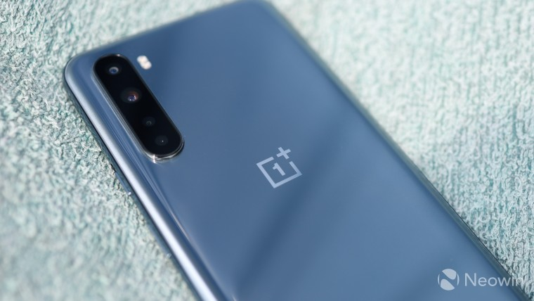 The back of the OnePlus Nord with focus on the camera setup