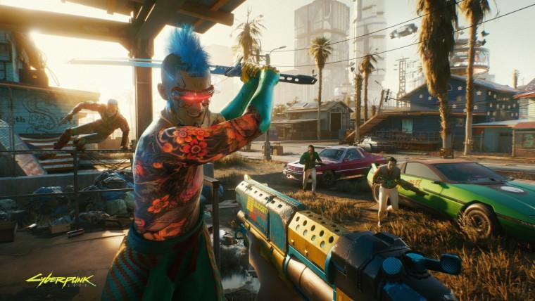 A screenshot from Cyberpunk 2077 where a character is swinging a machete
