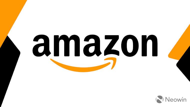 The Amazon logo on a white, orange, and black background