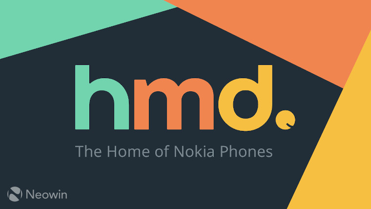 HMD Global logo on a dark blue background with logo colours