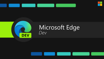 Microsoft Edge Dev text with Edge logo on black background