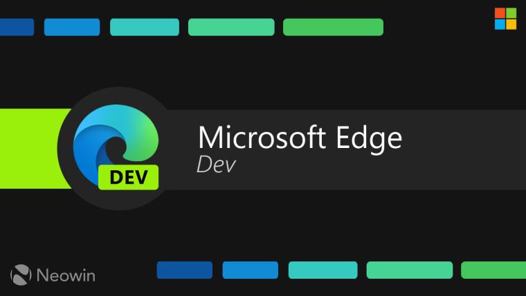 Microsoft Edge Dev text with Edge logo on black background