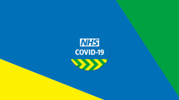 The NHS COVID-19 logo on a blue yellow and green background